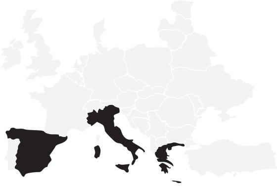 Spain, Italy, Greece
